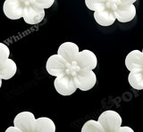 WHITE 13mm Hibiscus Flower Cabochons - WhimsyandPOP