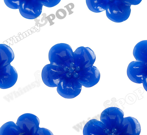ROYAL BLUE 13mm Hibiscus Flower Cabochons - WhimsyandPOP
