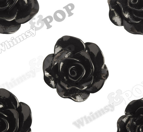 BLACK 28mm Begonia Flower Cabochons - WhimsyandPOP