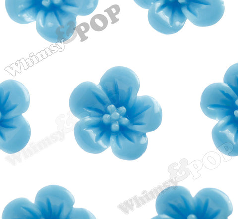 LIGHT BLUE 13mm Hibiscus Flower Cabochons - WhimsyandPOP
