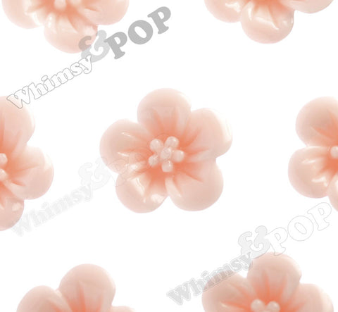 SHABBY CHIC PEACH 13mm Hibiscus Flower Cabochons