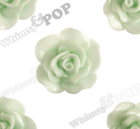 SEAFOAM GREEN 28mm Begonia Flower Cabochons