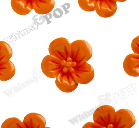 ORANGE 13mm Hibiscus Flower Cabochons