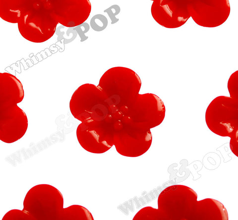 RED 13mm Hibiscus Flower Cabochons - WhimsyandPOP
