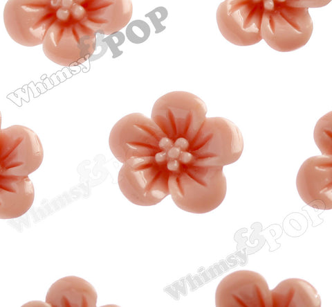 CORAL 13mm Hibiscus Flower Cabochons - WhimsyandPOP