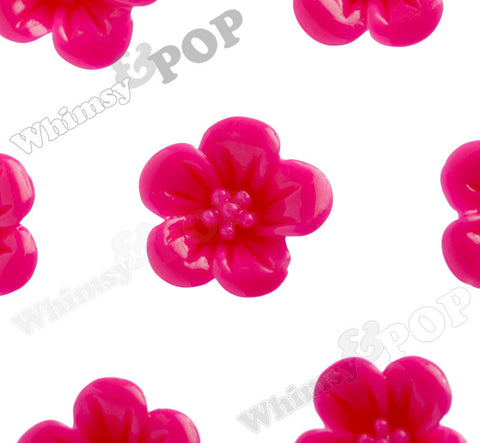 HOT PINK 13mm Hibiscus Flower Cabochons - WhimsyandPOP