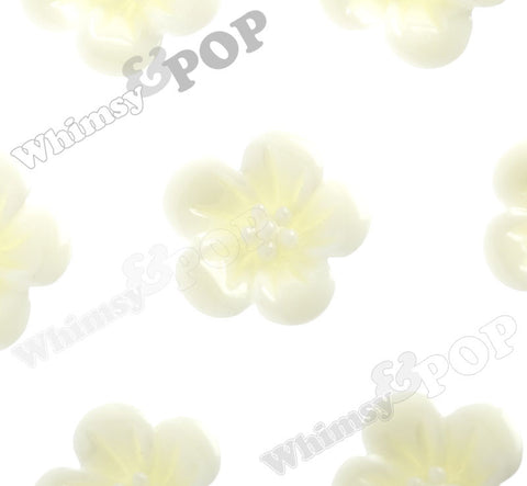 YELLOW IVORY 13mm Hibiscus Flower Cabochons - WhimsyandPOP