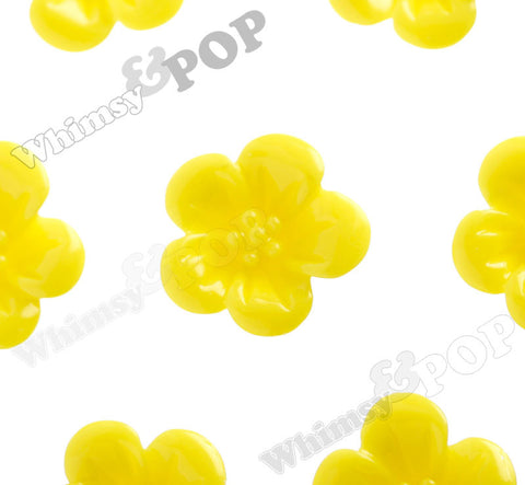 YELLOW 13mm Hibiscus Flower Cabochons - WhimsyandPOP