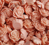 CORAL 13mm Classic Rose Flower Cabochons - WhimsyandPOP