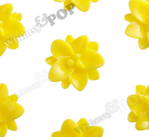 YELLOW 12mm Small Lotus Flower Cabochons - WhimsyandPOP
