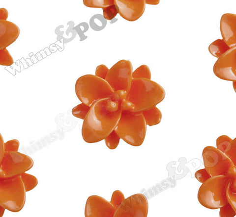 ORANGE 12mm Small Lotus Flower Cabochons