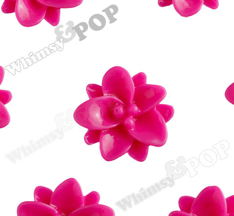 HOT PINK 12mm Small Lotus Flower Cabochons - WhimsyandPOP