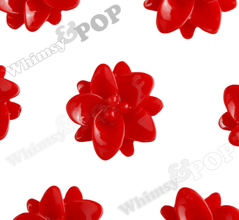RED 12mm Small Lotus Flower Cabochons