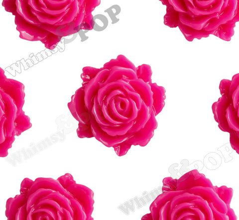 HOT PINK 11mm Blooming Rose Flower Cabochons - WhimsyandPOP