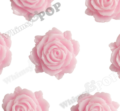 PINK 11mm Blooming Rose Flower Cabochons