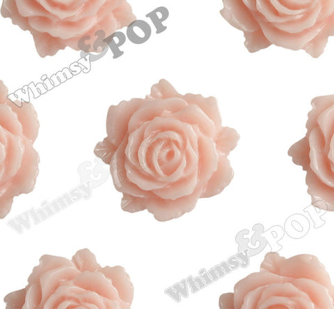 SHABBY CHIC PEACH 11mm Blooming Rose Flower Cabochons - WhimsyandPOP