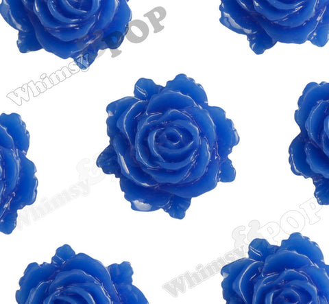 ROYAL BLUE 11mm Blooming Rose Flower Cabochons