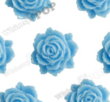 LIGHT BLUE 11mm Blooming Rose Flower Cabochons - WhimsyandPOP