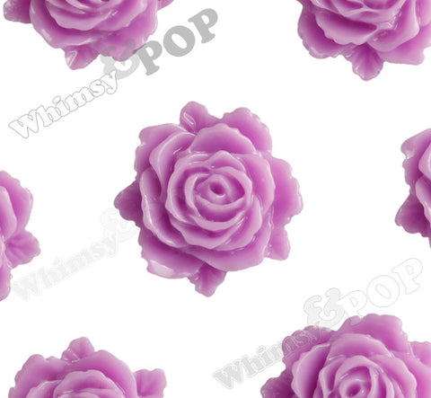 LILAC PURPLE 11mm Blooming Rose Flower Cabochons - WhimsyandPOP