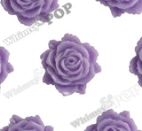 LAVENDER PURPLE 11mm Blooming Rose Flower Cabochons - WhimsyandPOP