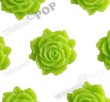 GREEN APPLE 11mm Blooming Rose Flower Cabochons - WhimsyandPOP