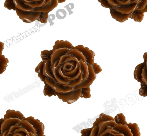 BROWN 11mm Blooming Rose Flower Cabochons - WhimsyandPOP