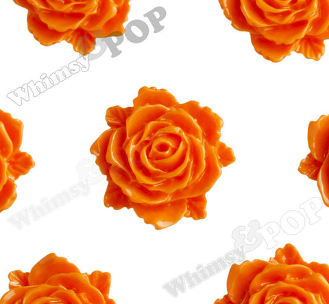 ORANGE 11mm Blooming Rose Flower Cabochons - WhimsyandPOP