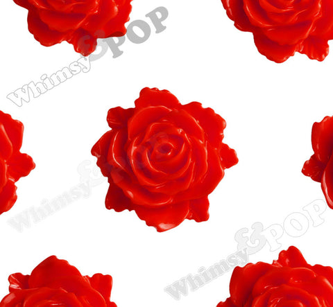 RED 11mm Blooming Rose Flower Cabochons