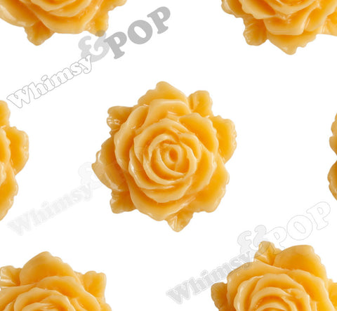 SORBET ORANGE 11mm Blooming Rose Flower Cabochons - WhimsyandPOP