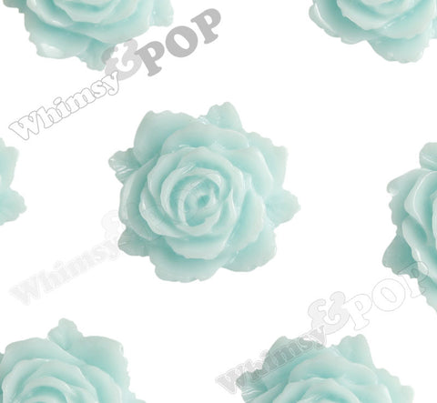 AQUA BLUE 11mm Blooming Rose Flower Cabochons - WhimsyandPOP