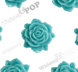 TEAL GREEN 11mm Blooming Rose Flower Cabochons - WhimsyandPOP