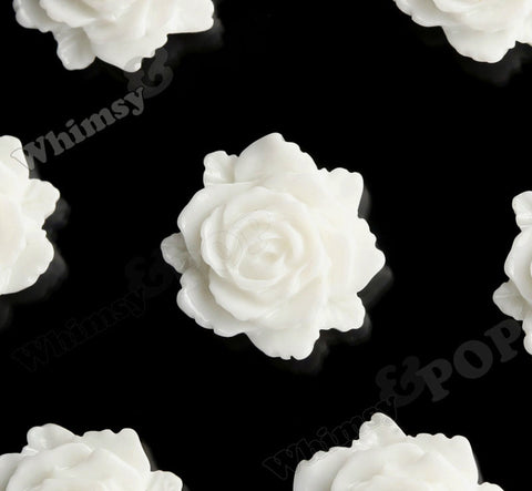CREAM WHITE 11mm Blooming Rose Flower Cabochons - WhimsyandPOP
