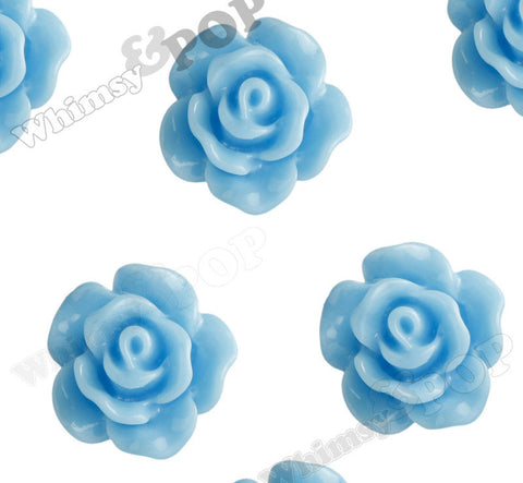 LIGHT BLUE 10mm Small Detailed Flower Cabochons - WhimsyandPOP