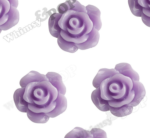 LAVENDER PURPLE 10mm Small Detailed Flower Cabochons - WhimsyandPOP