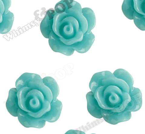 TEAL 10mm Small Detailed Flower Cabochons