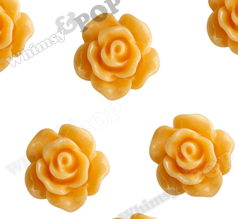 ORANGE SORBET 10mm Small Detailed Flower Cabochons - WhimsyandPOP