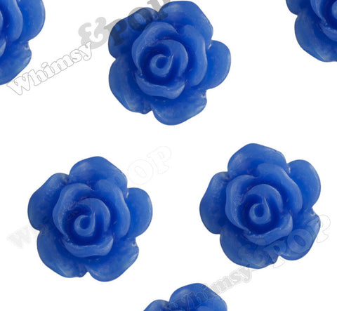 ROYAL BLUE 10mm Small Detailed Flower Cabochons - WhimsyandPOP