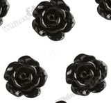 BLACK 10mm Small Detailed Flower Cabochons - WhimsyandPOP