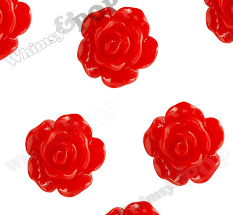 RED 10mm Small Detailed Flower Cabochons