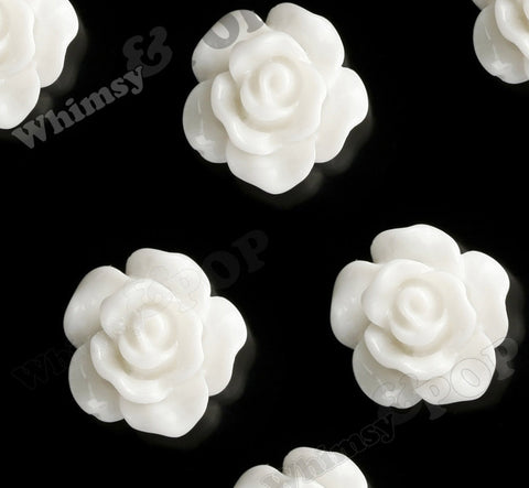 WHITE 10mm Small Detailed Flower Cabochons - WhimsyandPOP