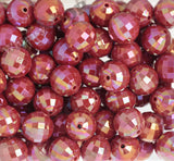 RED 20mm Faceted AB Gumball Beads