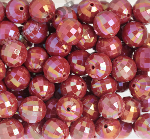 RED 20mm Faceted AB Gumball Beads - WhimsyandPOP