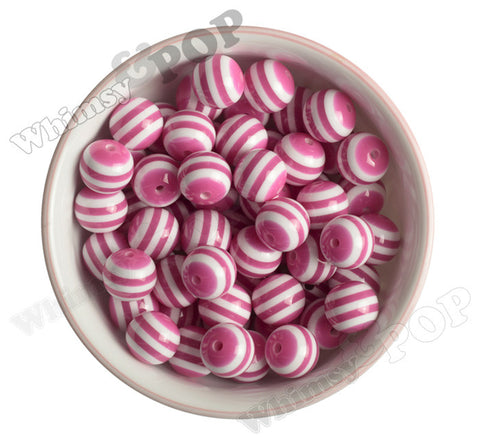 HOT PINK 16mm Striped Gumball Beads - WhimsyandPOP