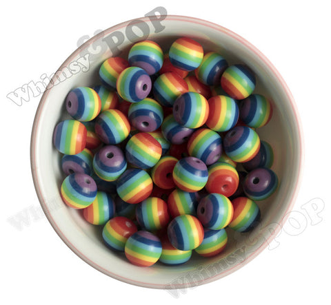 RAINBOW 16mm Striped Gumball Beads - WhimsyandPOP