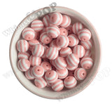 PINK 16mm Striped Gumball Beads - WhimsyandPOP