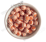 ORANGE 16mm Striped Gumball Beads - WhimsyandPOP