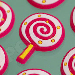 Pink and Yellow Lollipop Candy Cabochons