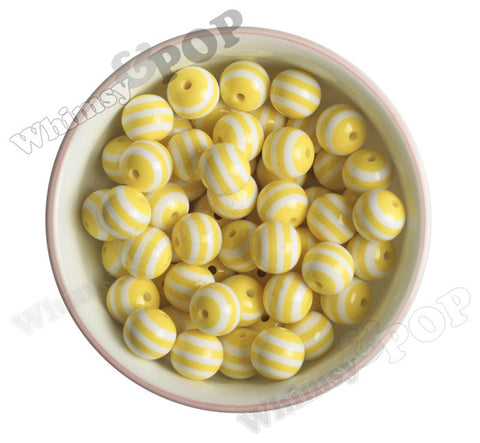 YELLOW 16mm Striped Gumball Beads - WhimsyandPOP