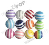 RED 16mm Striped Gumball Beads - WhimsyandPOP