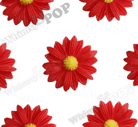 RED 22mm Gerber Daisy Flower Cabochons
